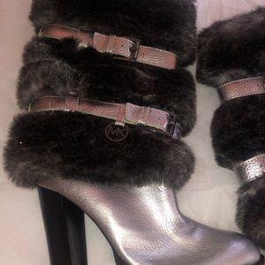 MK Carlie Faux Fur Silver Leather Boots